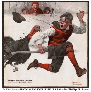 1917-12-01-The-Country-Gentleman-Norman-Rockwell-cover-Cousin-Reginald-Catches-the-Thanksgiving-Turkey